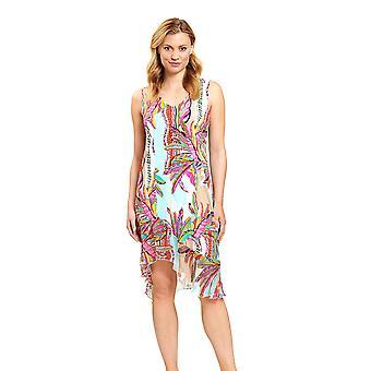 Féraud 3205049-16576 Women's Blue Ethno Feather Beach Dress