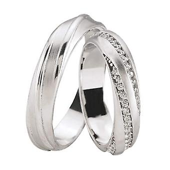 White gold wedding rings with 3 rows of diamonds