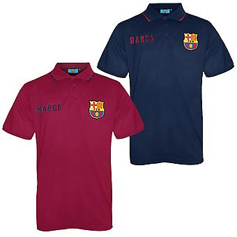 FC Barcelona Mens Polo Shirt Crest OFFICIAL Football Gift