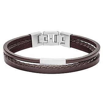 Fossil bracelet JF03323040 - VINTAGE CASUAL Silver Steel Silver Leather Maro homme