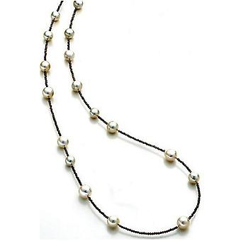 Luna-Pearls Pearl Collier South Sea Beads 9-11mm Smokequartz 925 Silver Rhod. 1063895