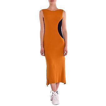 Akep Ke938sn Kvinnor's Orange/svart bomullsklänning