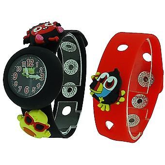 Moshi Monsters Kids Black & piros cserélhető szíj Watch with Charms AMMDI
