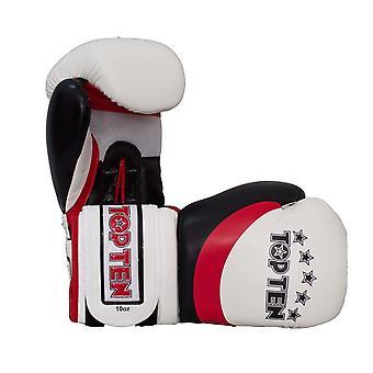 Top Ten Stripe Gants de boxe Blanc / Rouge / Noir