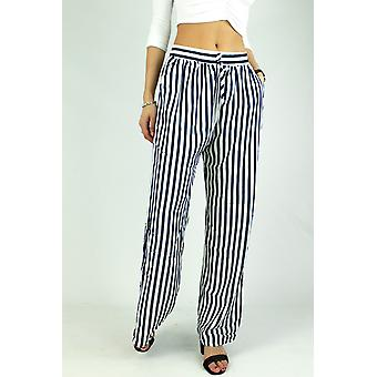 Wide striped trousers, cotton women's