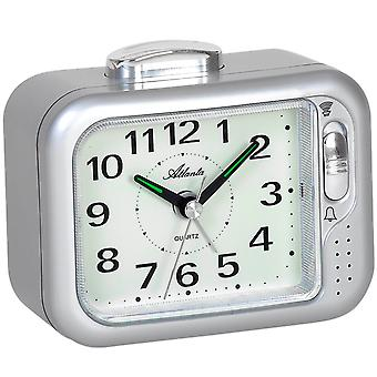 Atlanta 1942/19 alarm clock quartz analog silver Bell or beep tone