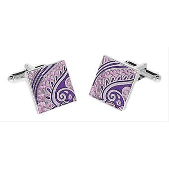 Duncan Walton Paisley Enamel Cufflinks - Silver/Purple