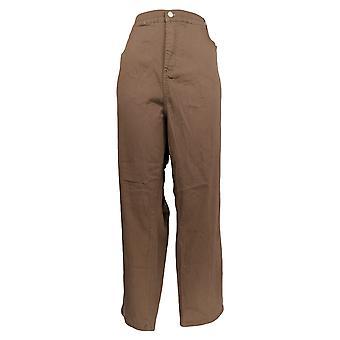 Denim & Co. Women's Petite Pants Slim Leg 5-Pocket Brown A94106
