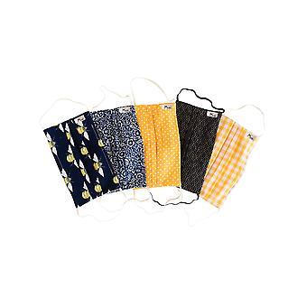Mio HB5PK Honig Biene gelb Baumwolle 5 Pack Gesichtsmasken Set mit abnehmbaren Nasendraht
