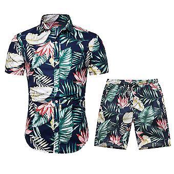 Allthemen Men's Leaf Printed Short-Sleeved Shirt Suit