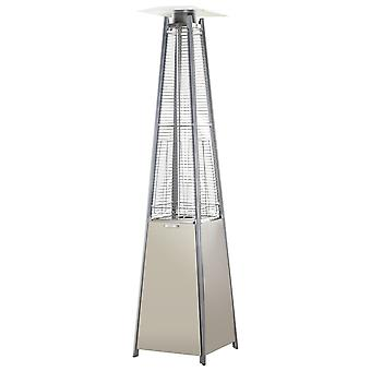 Outsunny 13 kW Stainless Steel Outdoor Garden Patio Pyramid Heating Propane Gas Real Flame Heater Warmer Glass Tube with Wheels and Rain Cover - Silver