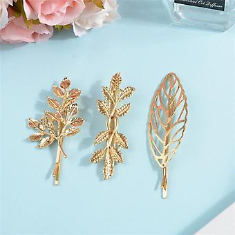 Incredibly beautiful hair clips set 3 stk leaves gold