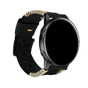 1/2 Cowhide Leather Strap for Galaxy Watch Active Tang Buckle Clasp- Black