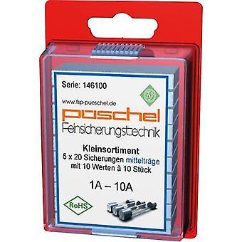 Püschel SORTI02MB Micro fuse (Ø x L) 5 mm x 20 mm 1 A, 1.25 A, 1.6 A, 2 A, 2.5 A, 3.15 A, 4 A, 5 A, 6.3 A, 10 A Medium time-lag -mT- Content 100 pc(s)