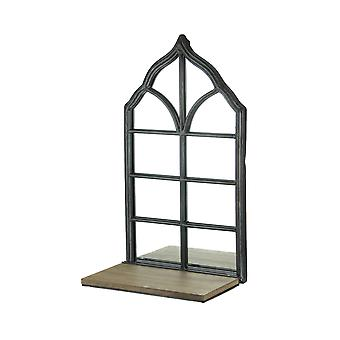 Mirrored Iron and Wood Gothic Cathedral Arch Style Wall Shelf