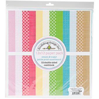 Doodlebug Design Cream & Sugar 12x12 Inch Petite Print Paper Pack