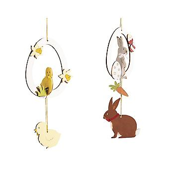 4 Hanging Wooden Easter Eggs Spring Party - Kit d'artisanat pour adultes