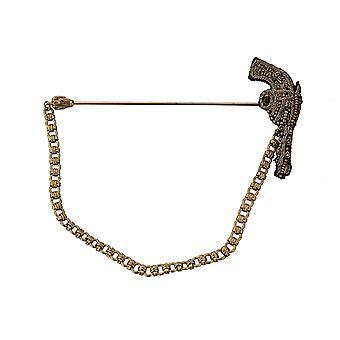 Dolce & Gabbana Revers pin guld messing kobber revolver pistol broche - SMY5820912
