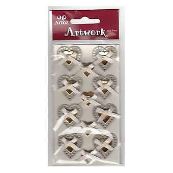 Silver Gold Wedding Hearts Bows Craft Embellishment By Artoz