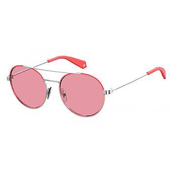 نظارات شمسية للجنسين 6056/S35J/0F فضة / وردي