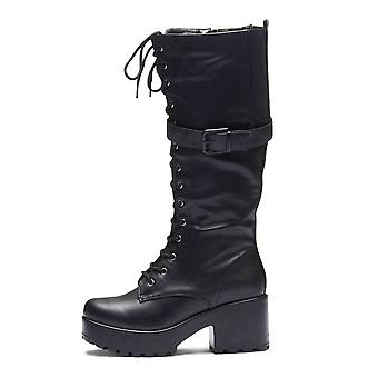 Onlineshoe Chunky Stompa Knee High Lace Up Boots With Strap