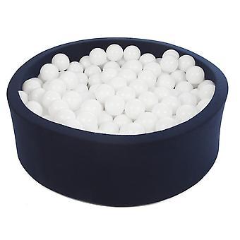 Ball pit granatowy z 450 kulkami 90 cm biały