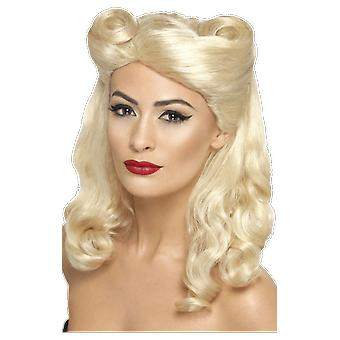 Womens 40s Pin Up Girl Blonde Wig