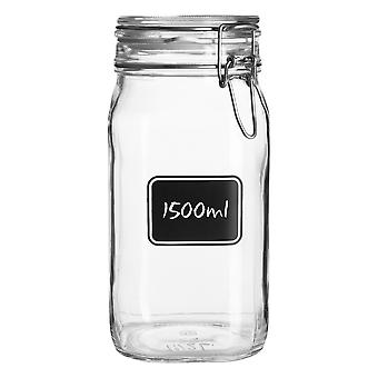 Bormioli Rocco Lavagna Glass Storage Jar with Chalkboard Label - Food Pasta Jam Preserving Container - 1.5L