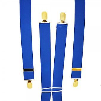Ties Planet Plain Royal Blue Men's Trouser Braces - Clips de oro