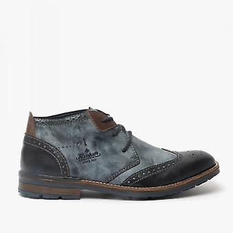 Rieker B1343-14 Mens Wide Fitting Lace Up Ankle Boots Blue