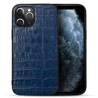 For iPhone 12 Pro/12 Case Genuine Leather Crocodile Texture Cover Blue