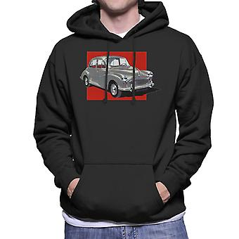 Morris Minor Red Background British Motor Heritage Men's Hooded Sweatshirt