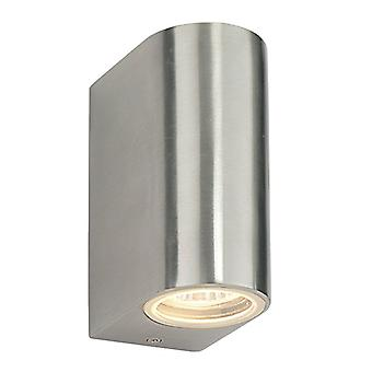 Saxby Lighting Doron - Outdoor Wall Lamp IP44 35W Geborsteld legering en helder glas 2 licht dimbare IP44 - GU10