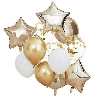Metallic Gold and White Party Balloons Bundle x 12