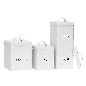 4 Piece Vintage Tea Coffee Sugar and Biscuits Storage Canisters  - Metal Square Jar Airtight Seal - Matte White