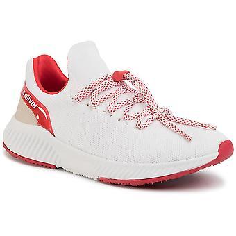 Weiß rote flache Schuhe