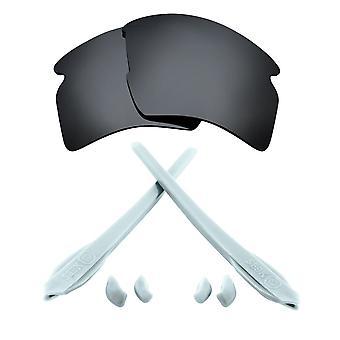 استبدال العدسات كيت ل Oakley Flak 2.0 XL الأسود Iridium الأبيض المضادة للخدش المضادة للوهج UV400 من قبل SeekOptics