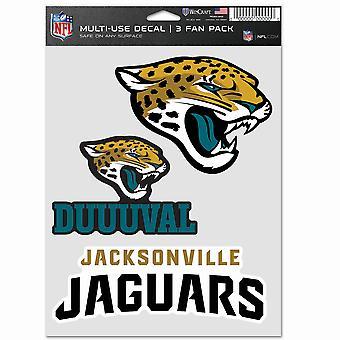 NFL ملصقة مجموعة متعددة من 3 20x15cm - جاكسفيل جاكوار