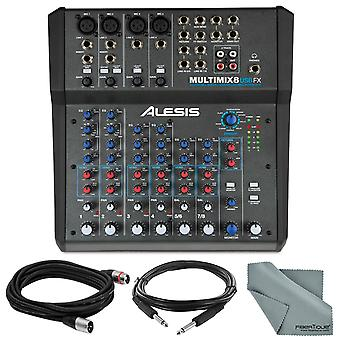 Alesis multimix 8 usb fx 8-kanaals mixer met effecten en usb audio-interface basisbundel w / kabels en fibertique doek