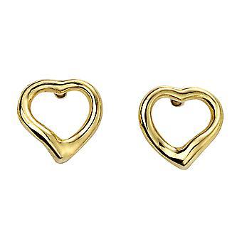 Begin 925 Sterling Silver Ladies' Gold Plated Silver Open Heart Stud Oorbellen 7,5mm