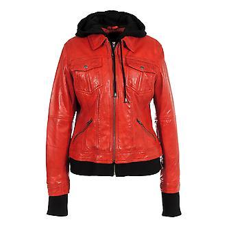 Karlee womens stylish hooded leather jacket