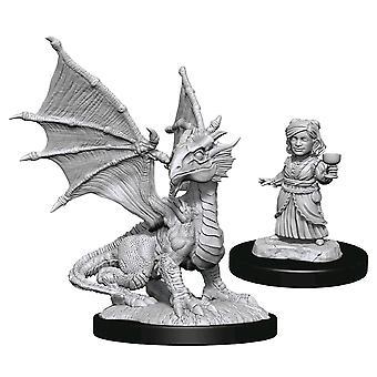 D&D Nolzur's Minis Silver Dragon Wyrmling & Halfling