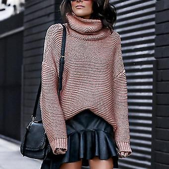 Women Pullover Turtle Neck Autumn Winter Clothes Warm Knitted  Sweater