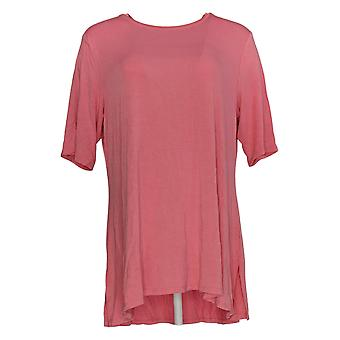 H by Halston Women's Top Essentials Crew Neck Elbow Sleeve Pink A383751