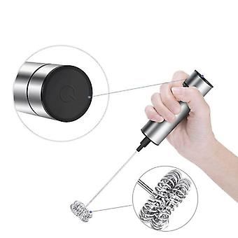 Powerful Electric Milk Frother With 2pcs Stainless Steel Spring Whisk Foam