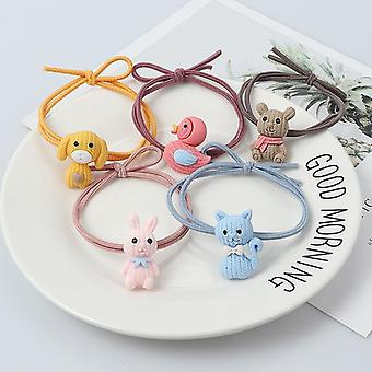 Cute Animal Hair Ring Cat Dog Rabbit Hair Bands Headwear Rubber Band Elastic