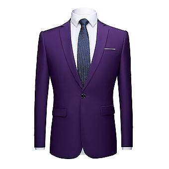 Mens Solid One Button Single Breasted Slim Fit Suit