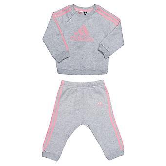 Girl's adidas Baby Linear Fleece Jog Set in Grey