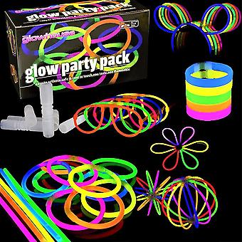 The glowhouse uk premium glow stick party pack (228 pcs total) 100 x glow sticks - kit to create: gl