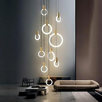 Modern Led Chandelier Ceiling Living Room Wooden Lighting Acrylic Ring